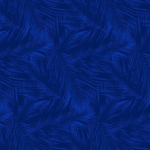 Birds in Paradise - fern pattern - royal blue