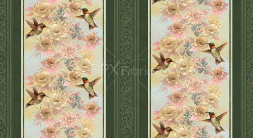 Garden Melodies - hummingbirds & flowers, repeating stripe