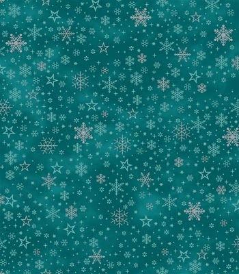 It's Snowflakes - silver snowflakes on turquoise