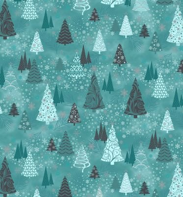 It's Snowflakes - trees with silver on turquoise