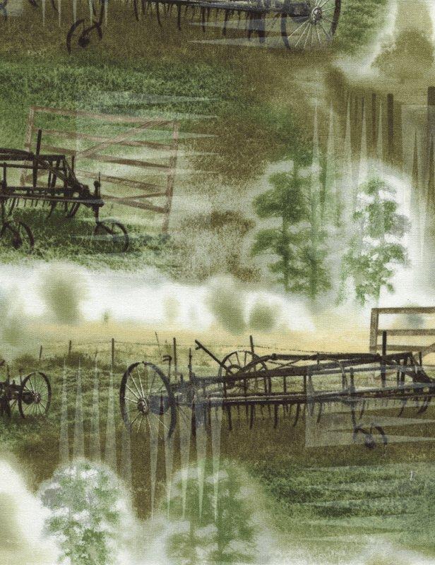 Reclaimed West - farm equipment - green meadow