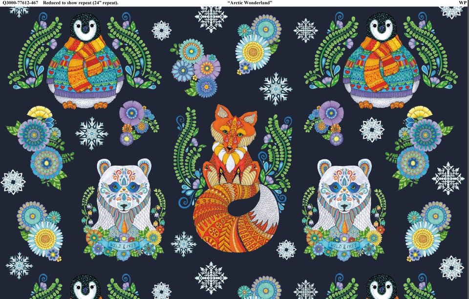 Arctic Wonderland - colorful animals on navy blue