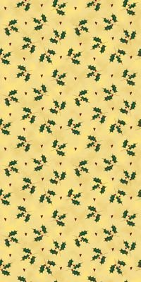 It's Snowflakes - holly leaves and berries on gold