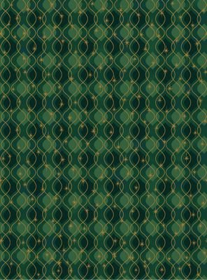 It's Snowflakes - wavy gold lines on green