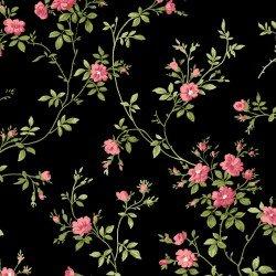 Poppies - delicate vine on black