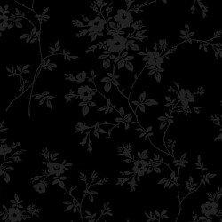 Poppies - tonal black - delicate vines