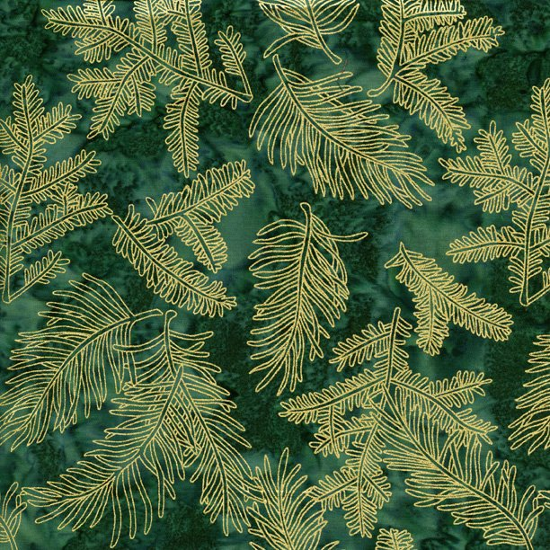 Island Batik - gold fern leaves on deep green