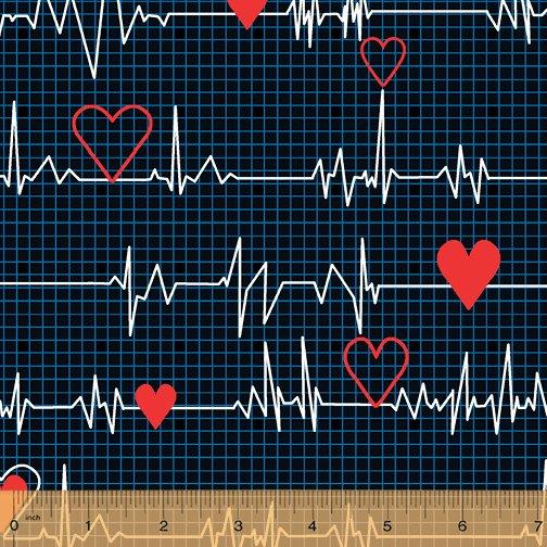 Calling All Nurses - EKG Heartbeat on dark blue