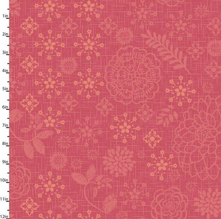 Meadowlark - flower & leave patterns on reddish