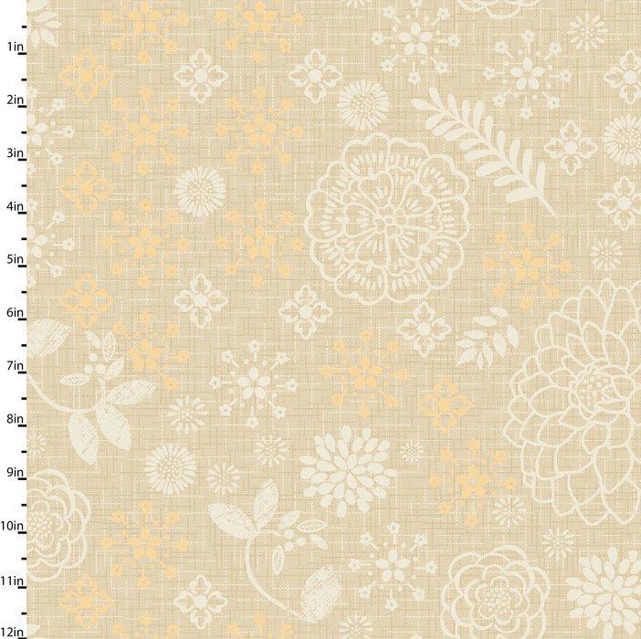 Meadowlark - flower & leave patterns on tan