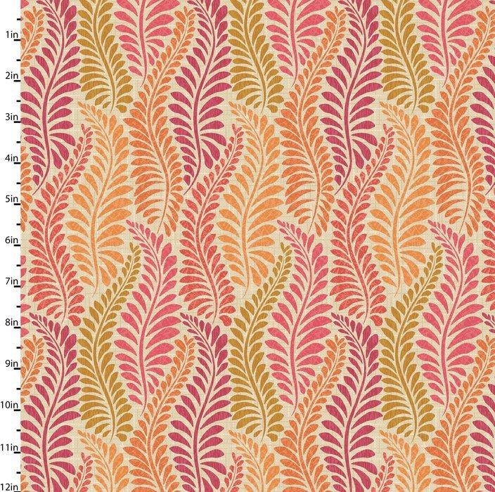 Meadowlark - fern leaves - red colors