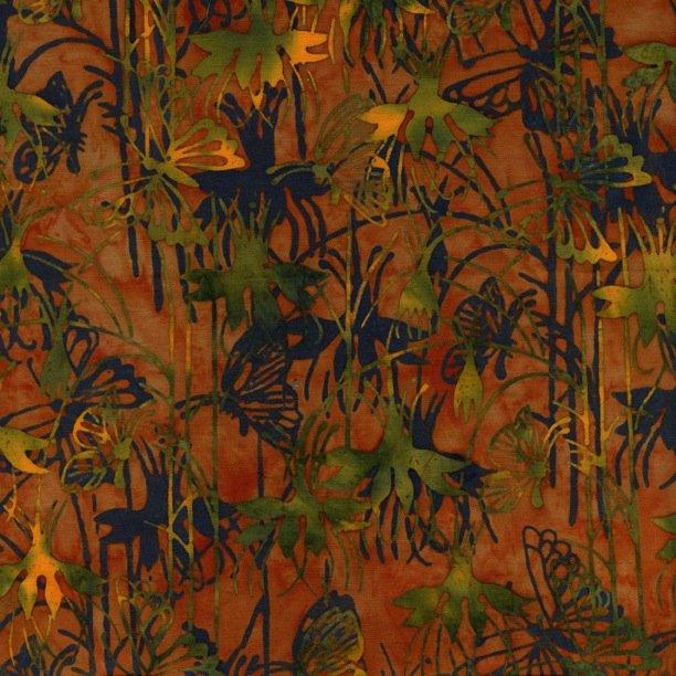 Island Batik - orange with green plants