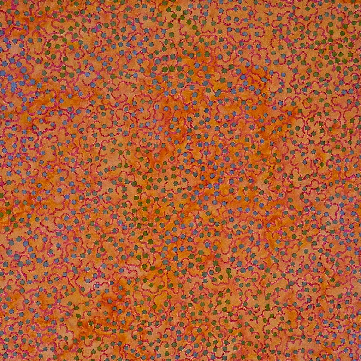 Batik by Mirah - Pastelette - orange with blue dots