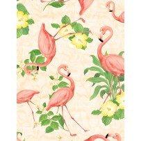 flamingos & flowers on cream