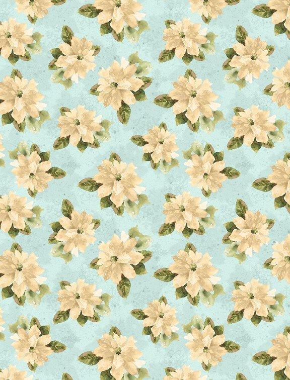 Woodland Wonder - cream flowers on blue