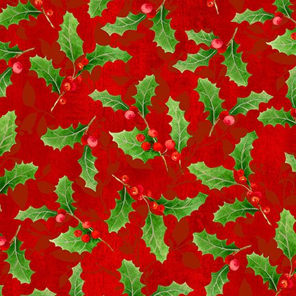 Peace on Earth - red with holly berries and leaves
