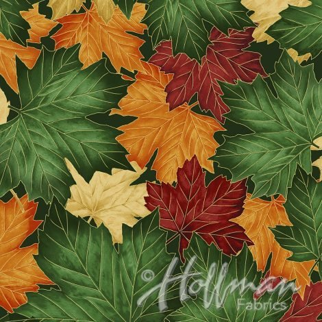 Can't Stop Falling - multi-colored leaves trimmed in gold