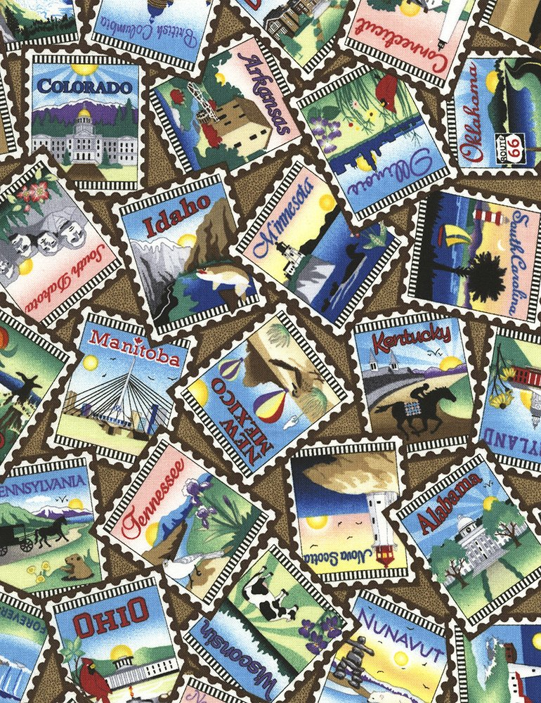 Row by Row - On The Go - state and province stamps