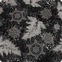 Holiday Flourish 12 - silver flowers on black