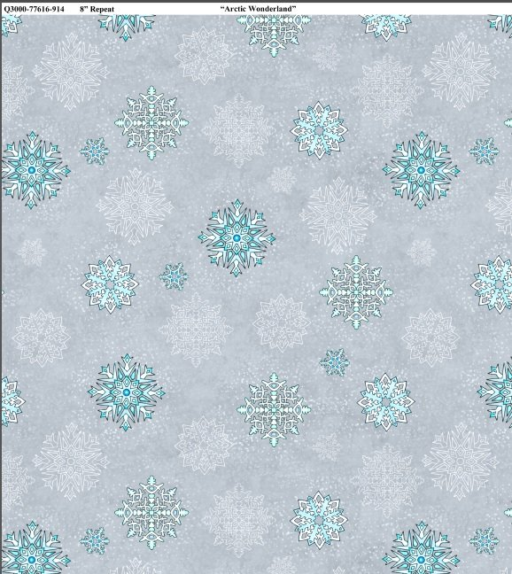 Arctic Wonderland - bluish snowflakes on silver/gray