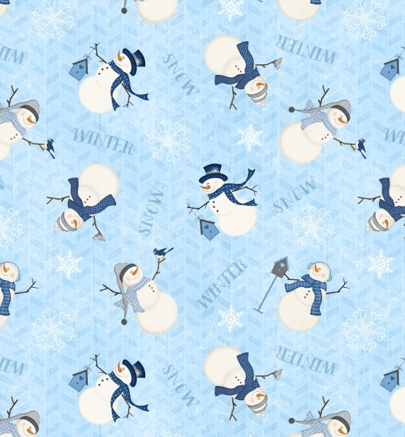Snowmen on light blue