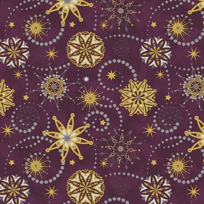 Starlight Snowflakes - medium snowflakes on purple