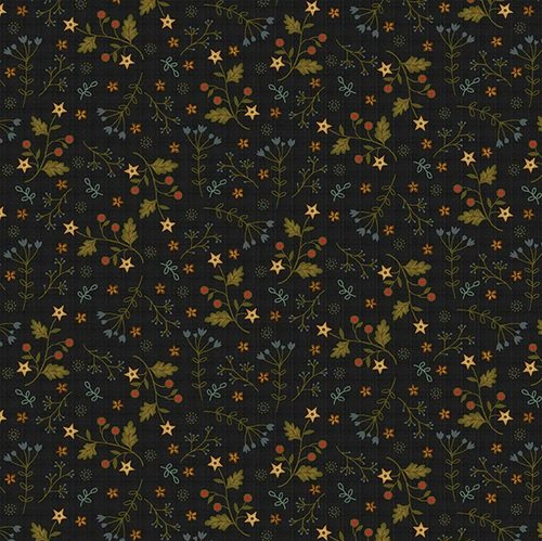 Farm to Market - star flowers on dark gray