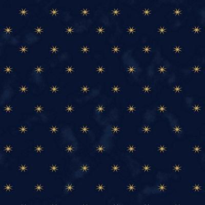 Starlight Snowflakes - gold stars on navy blue