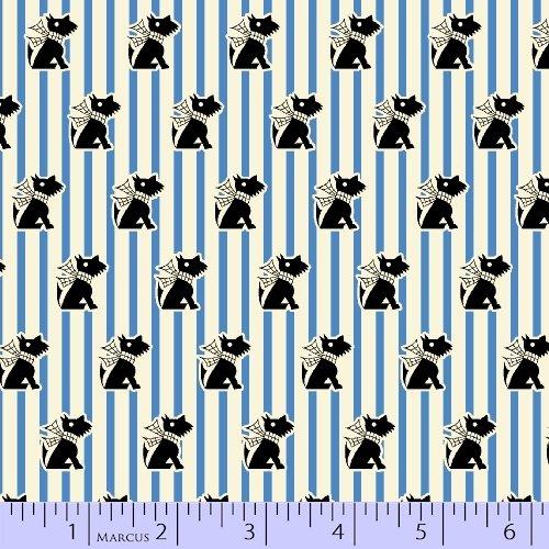 Aunt Grace in a Pickle Black Scottie on Blue and White stripe