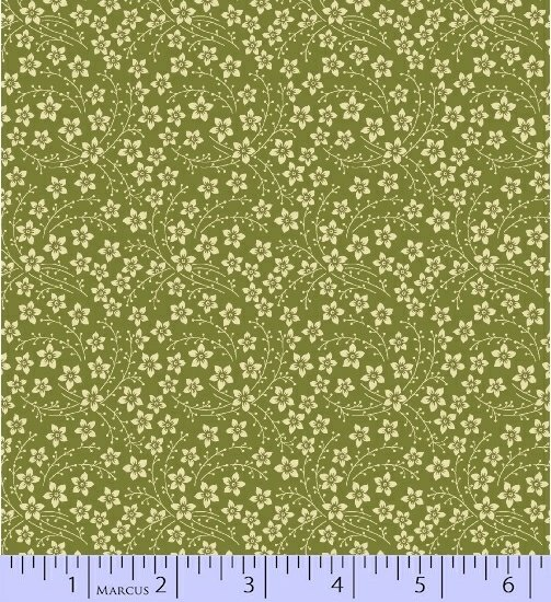 Home for the Holidays, Green/Cream Flowers, 0968 0114
