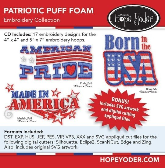 DHY-103 Patriotic Puff Foam Embroidery CD with SVG Files