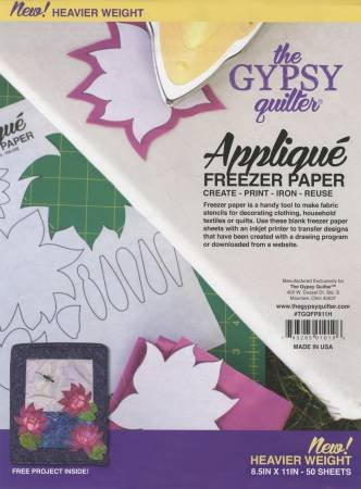 Gypsy Quilter Freezer Paper 8 1/2in x 11in Heavy Weight 50ct # TGQFP811H