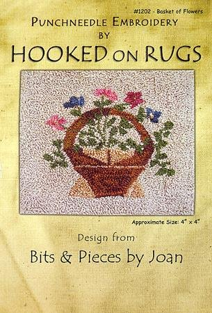 Basket of Flowers Punchneedle Pattern and linen #1202 Bits & Pieces by Joan