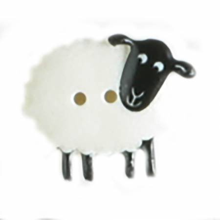White Novelty Sheep Button 2 per Card 23mm