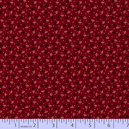 Antique Cotton  Red Background with Pink & Red Sprigs with White Dots R17 1738 0111