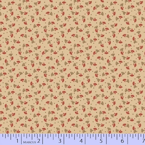 Antique Cotton  Tan Background with Red & Brown Fans R17 1738 0142