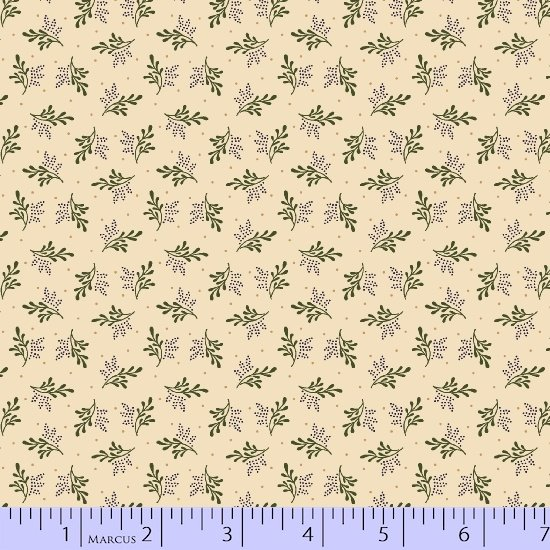 Antique Cotton  Cream Background with Green Branches R17 2352 0188