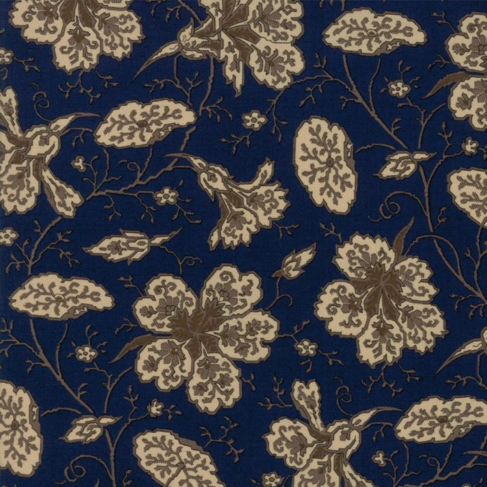 Evelyn's Homestead 31560 16 Navy Blue Background with Cream Focus Flower