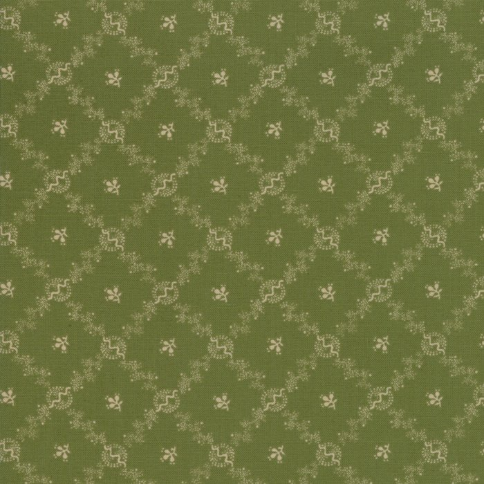 Evelyn's Homestead 31566 18 Green Background with Cream Criss Cross Designs