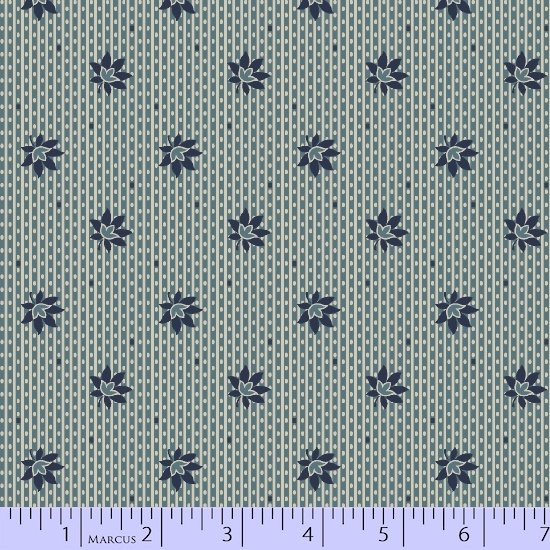 American Swatch Book  Blue Striped Background with Blue Flower R33 7866 0110