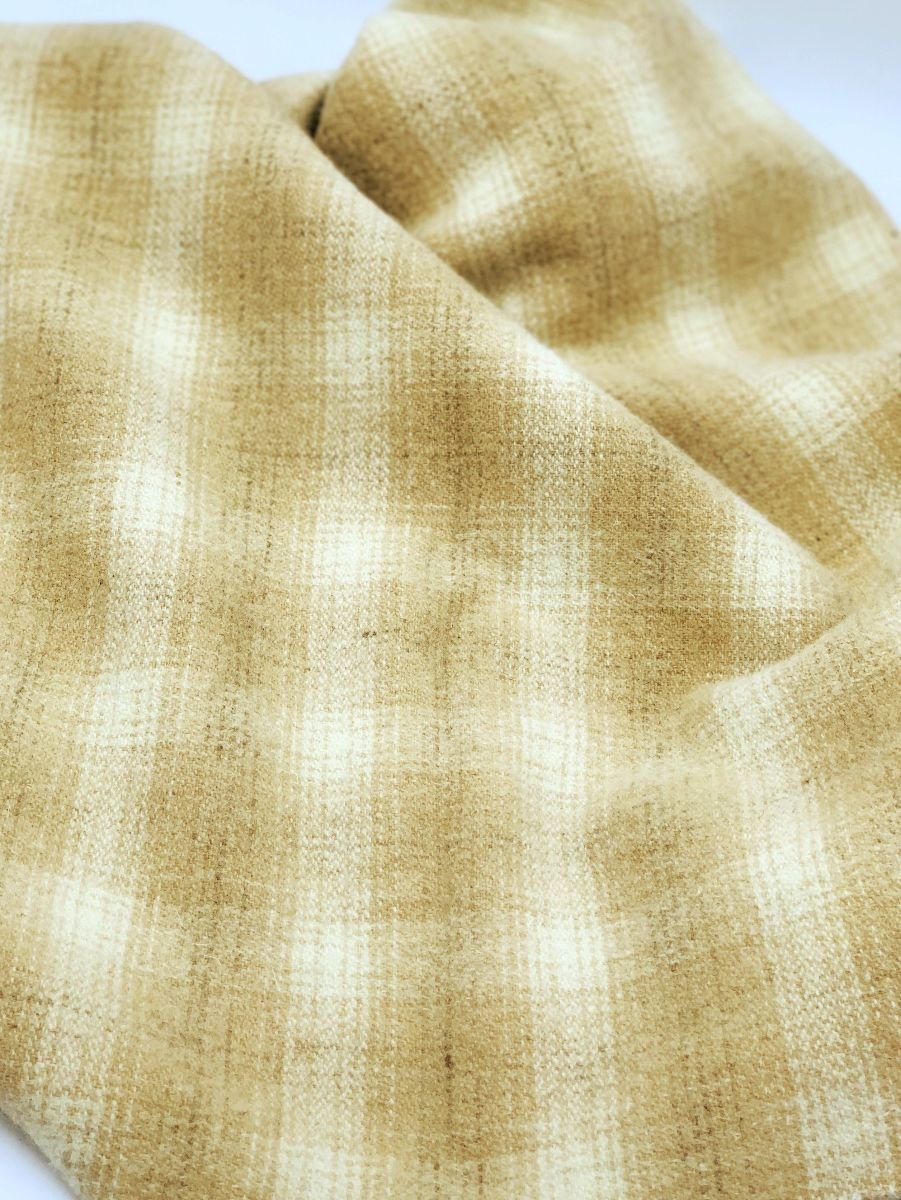 Vanilla Bean Plaid 100% Wool 9 X 14