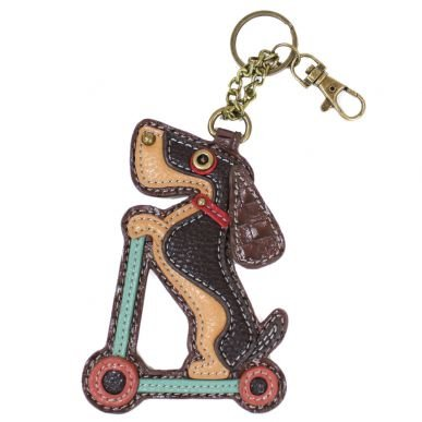 Wiener Dog on Scooter Keychain