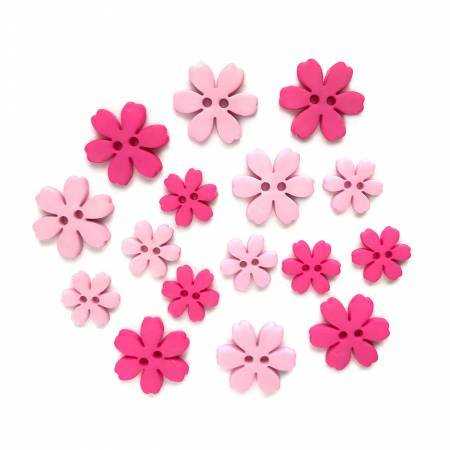 Hibiscus Flower Power Buttons (16 Pieces)