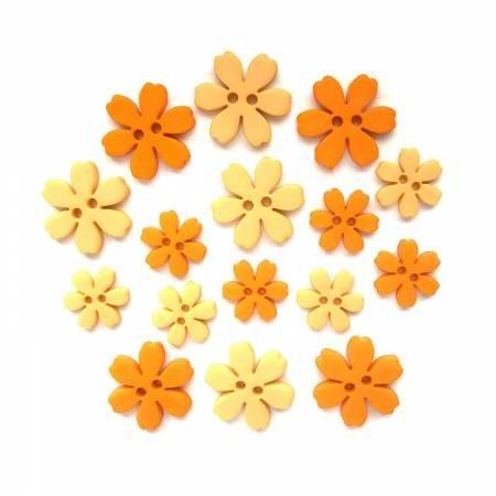 Marigold Flower Power Buttons (16 Pieces)