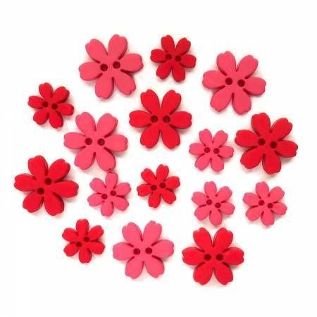 Poppy Flower Power Buttons (16 Pieces)