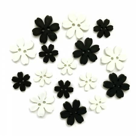 Boutonniere, Black & White Flower Power Buttons (16 Pieces)