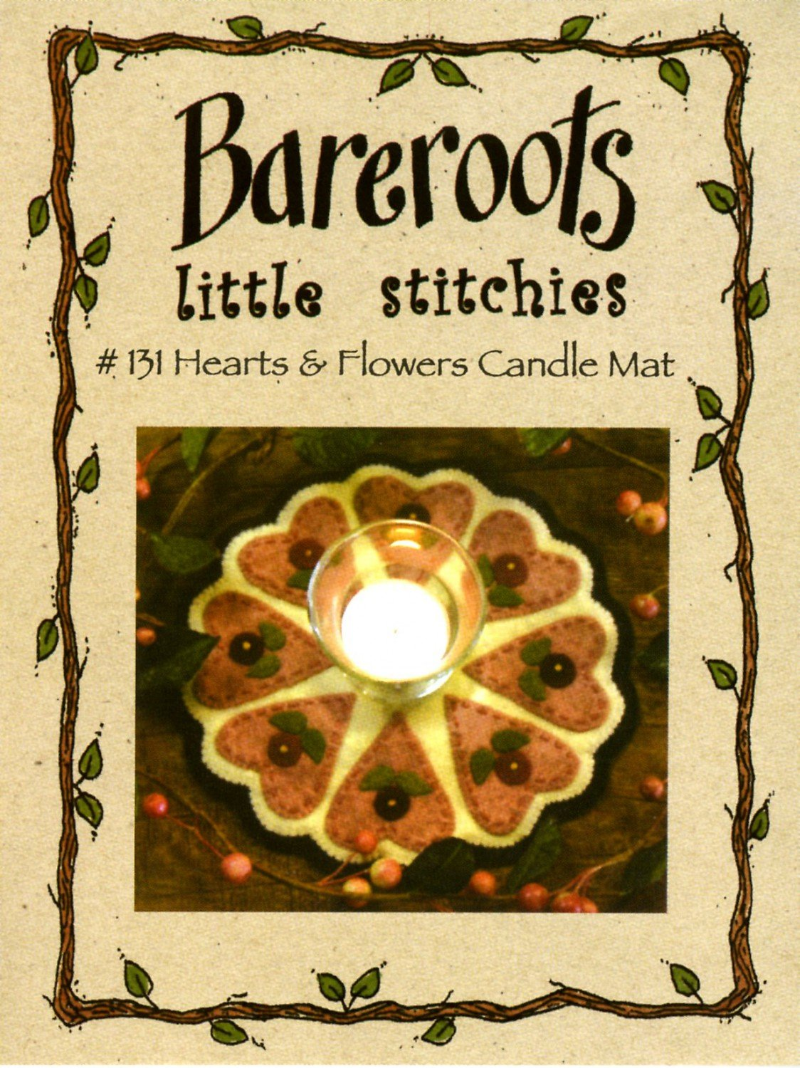 Hearts & Flowers Candle Mat by Bareroots Little Stitchies