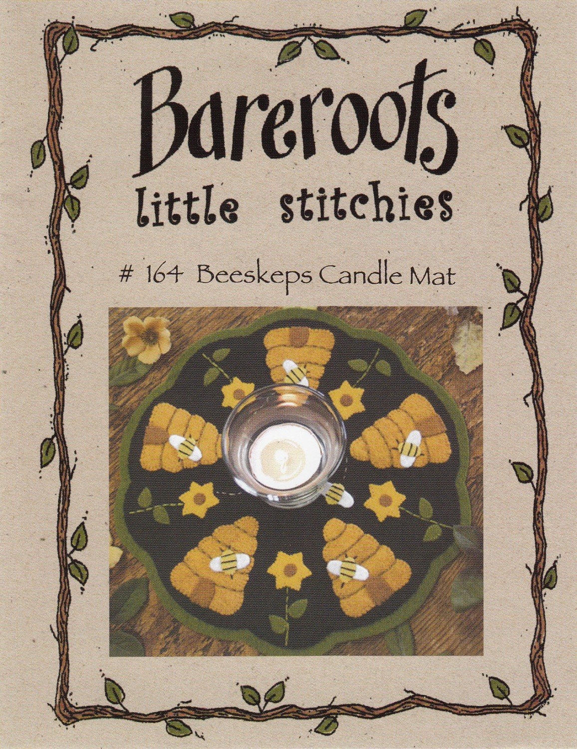Beeskeps Candle Mat by Bareroots Little Stitchies