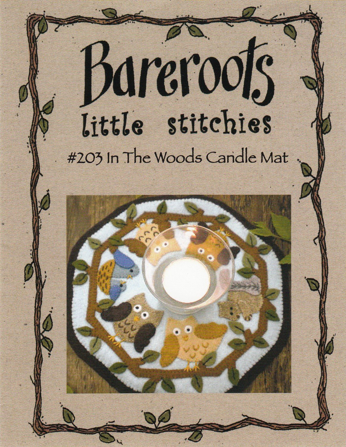 In the Woods Candle Mat by Bareroots Little Stitches
