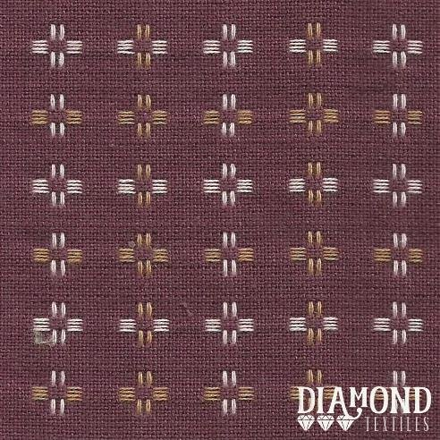 Basket Weave 1430 Cranberry with Tan and White Stitching Diamond Textiles